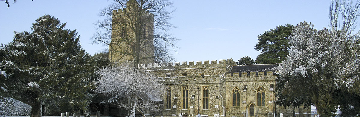 Whaddon St Marys Church in snow