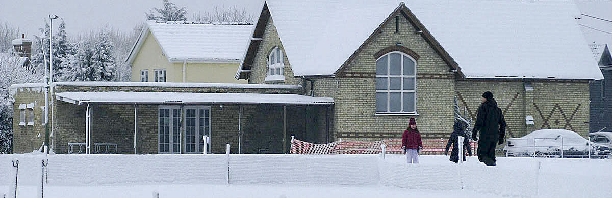 Whaddon village hall in snow