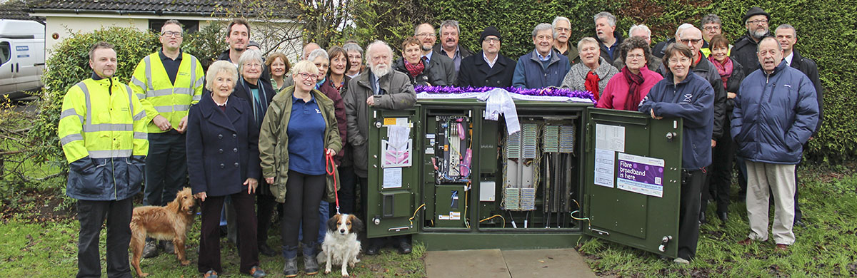 Event in December 2015 celebrating the arrival of Whaddon broadband