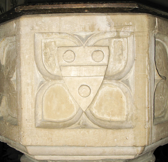 Whaddon St Marys Church Font arms